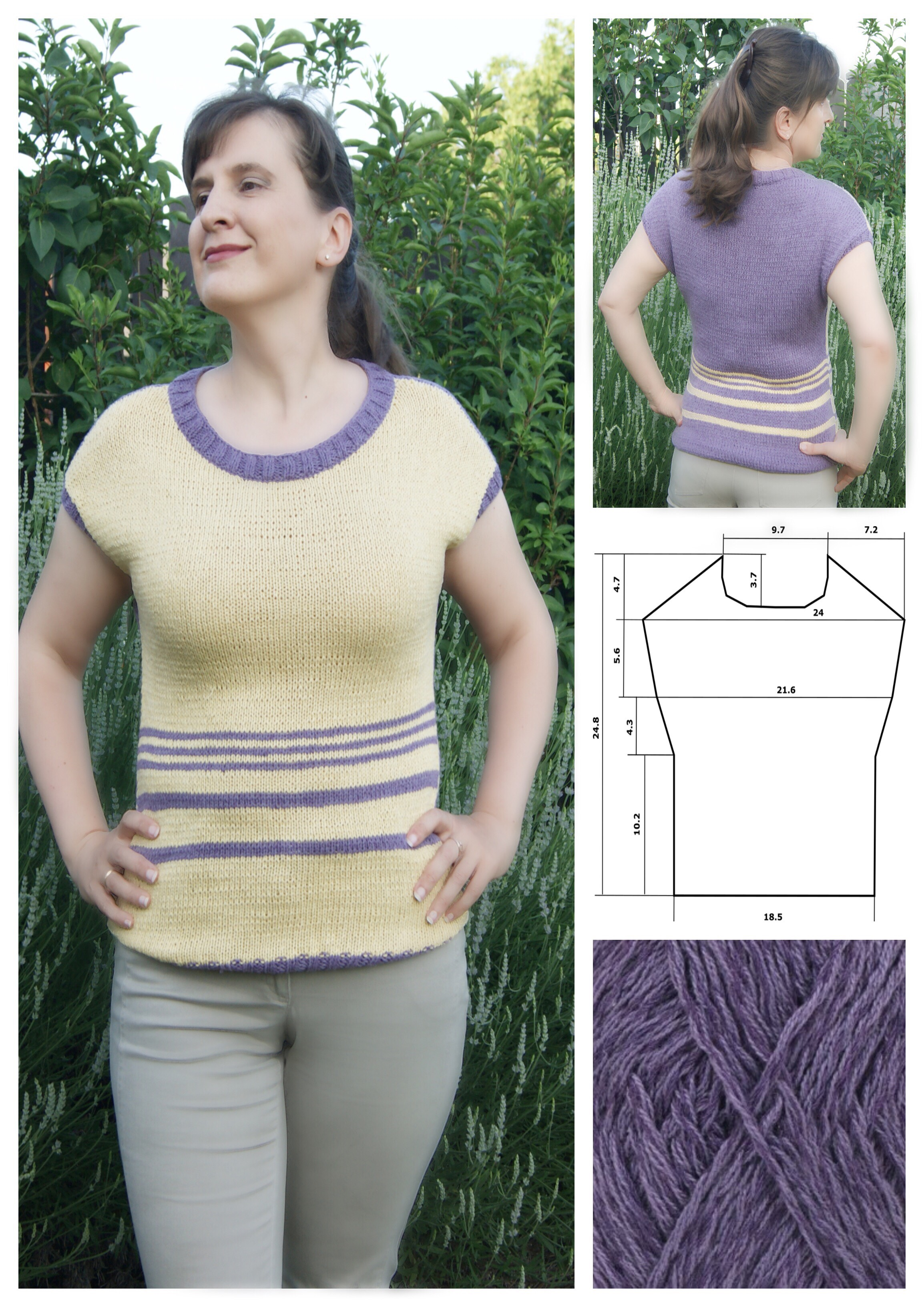Summer top for women. Free knitting pattern.