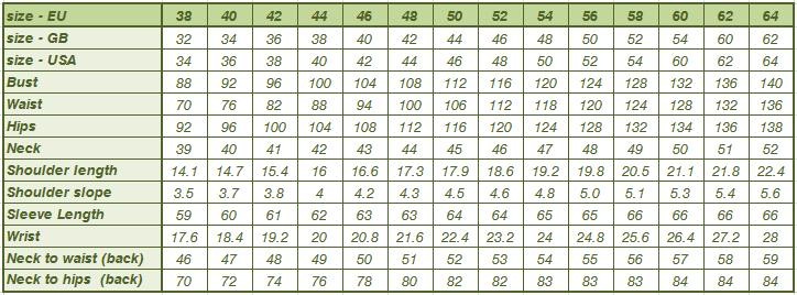 Men Size chart in cm