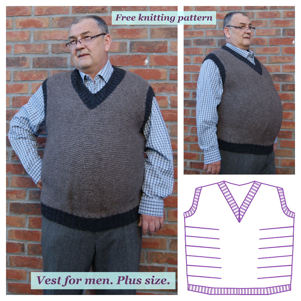 Vest for men. Plus size. Free knitting pattern.