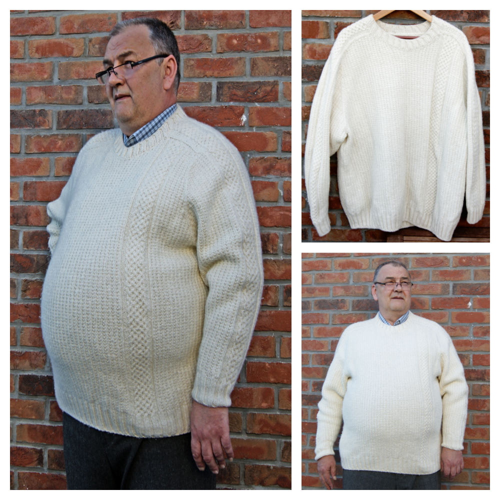 Sweater for Men. Plus Size. Saddle-shoulder sleeve style. Free Knitting Pattern.