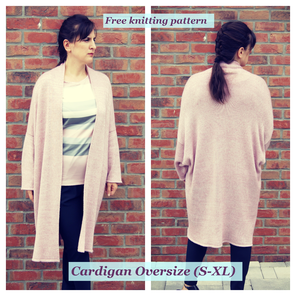 Women cardigan oversize. Free knitting pattern.
