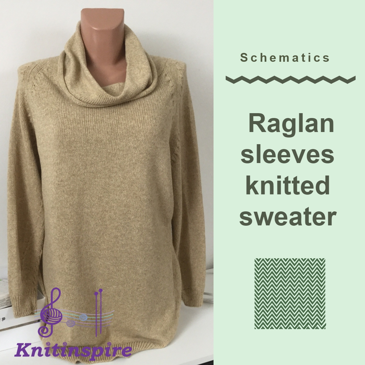 Raglan knitted sweater