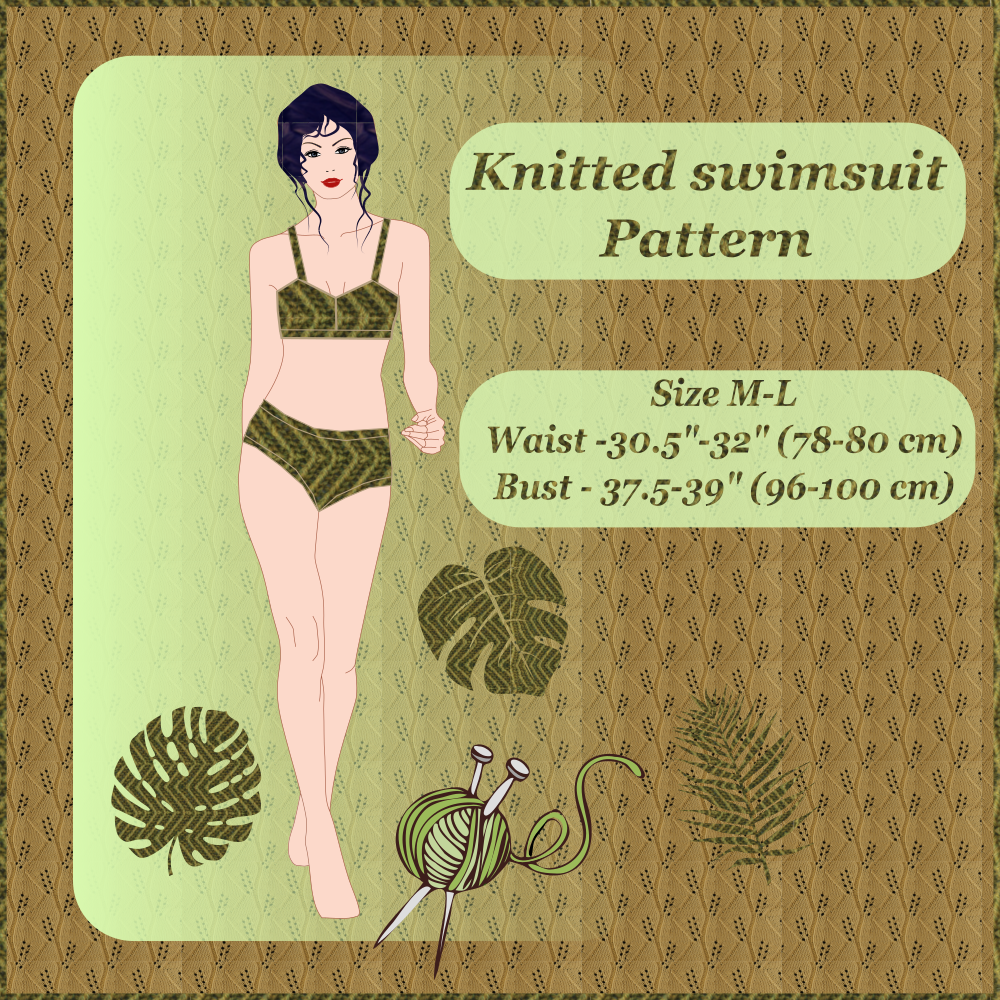 Knitted swimsuit, size M-L (38-40). Free knitting pattern.